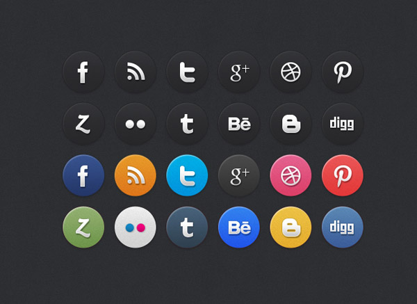 24 Circle Social Media Icons by Best PSD Freebies