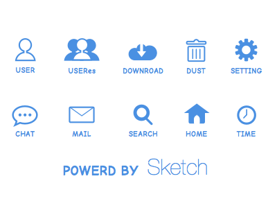 Blue Icons By Sketch by Mamoru Kijima in 47 Fresh and Flat Icon Sets for April 2014