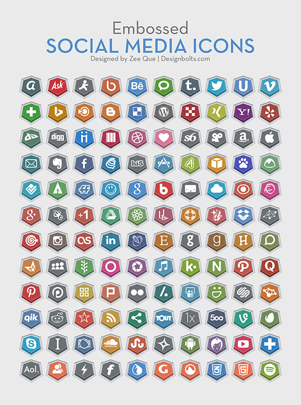 120 Embossed Free Social Media Icons by Zee Que in 47 Fresh and Flat Icon Sets for April 2014