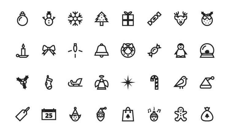 32 Christmas Vector Icon Set in EPS and AI
