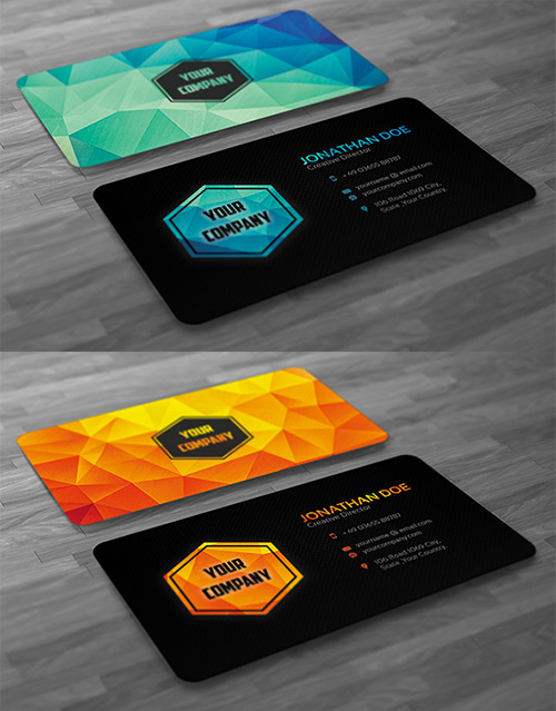 variation low poly business card