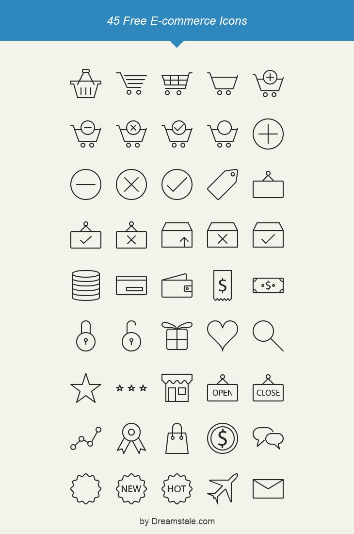 Free Outline E-commerce Icons