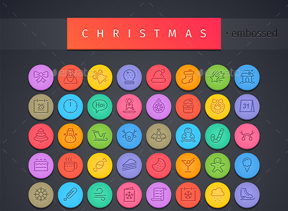 Christmas-Round-Embossed-Icons-Set