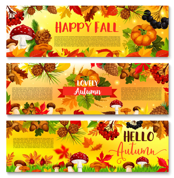 Harvest the fall banner vector material 01