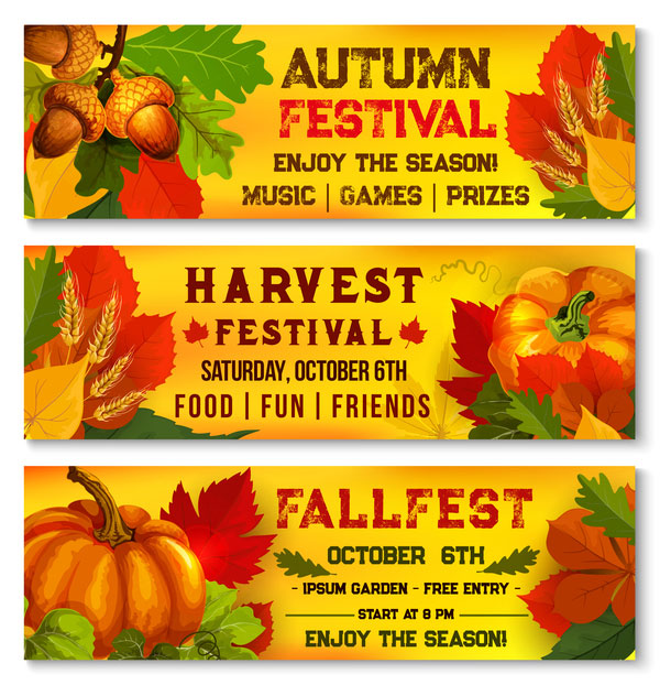 Harvest the fall banner vector material 02
