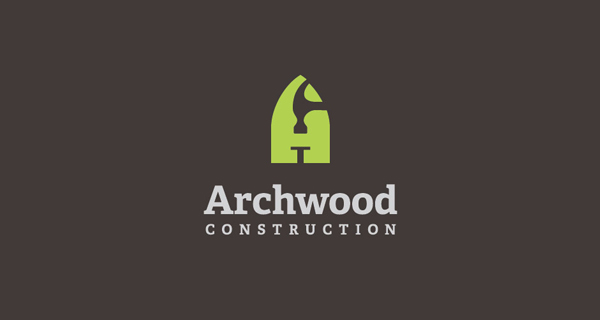 Creative logo designs that use negative space - Archwood Construction