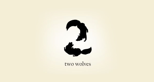 Creative logo design using numbers and digits - Two Wolves