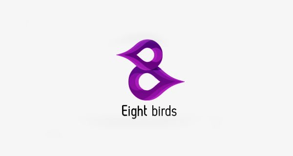 Creative logo design using numbers and digits - Eight Birds