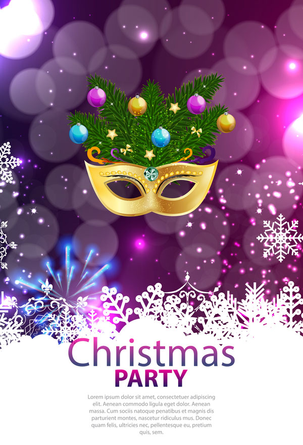 Christmas party poster purple vector template 02