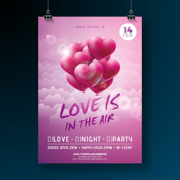 Valentine flyer and brochure cover template vectors set 17