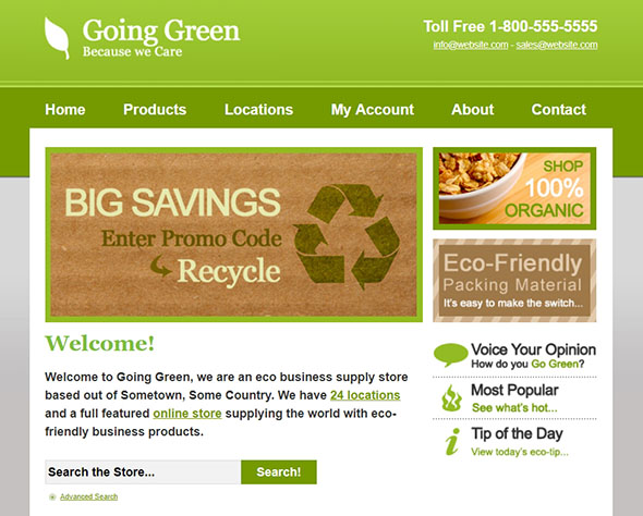 Going Green PHP Website Template