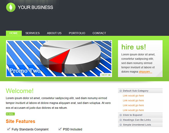 Clean Business Site PHP Website Template