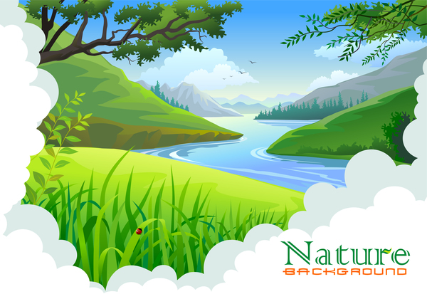 Beautiful natural landscape vectors 02