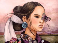 Claudia Tremblay遮住一只眼睛的女孩插画作品